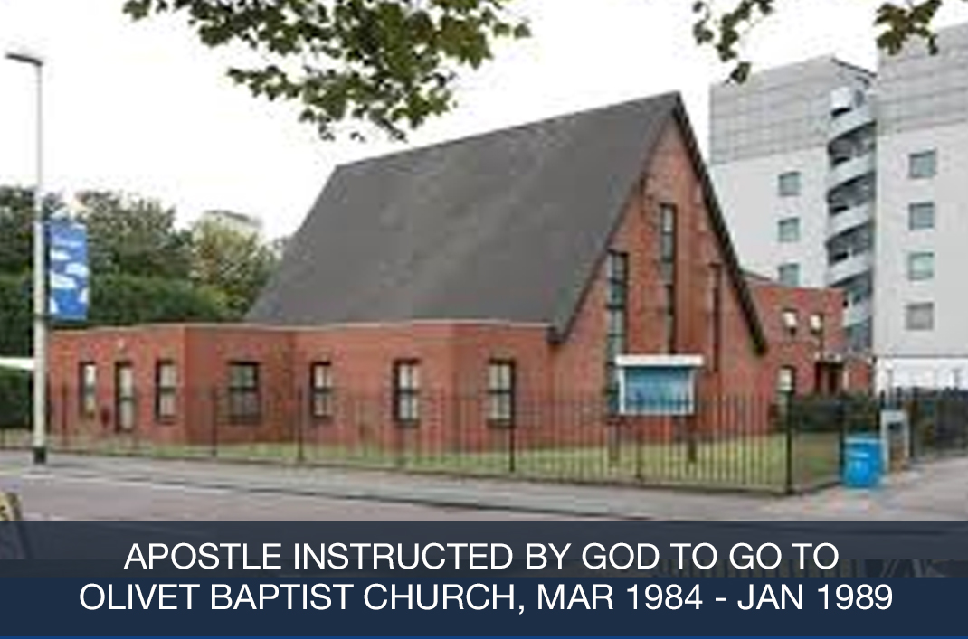 Apostle instructed by God to go to Olivet Baptist Church